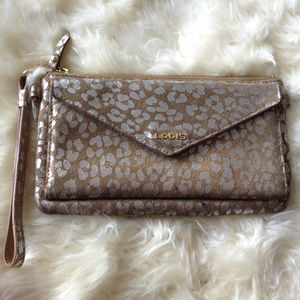 Lodis Exotic Print Leather Clutch Wristlet Wallet